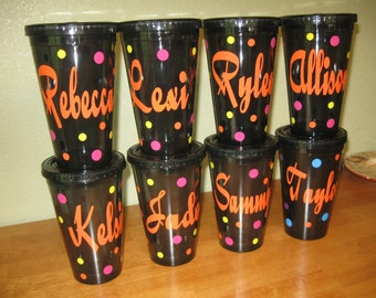 Quantity 8 Personalized w/name acrylic tumbler w/lid - polka dots, Available in skinny, standard, sport bottle, mason, kiddie cup & XL cup