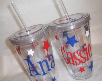 Personalized w/name acrylic tumbler, polka dots or stars, Available in skinny, standard, sport bottle, mason, kiddie cup & XL cup
