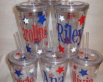 Quantity 6 Personalized w/name acrylic tumbler w/lid - polka dots, Available in skinny, standard, sport bottle, mason, kiddie cup & XL cup