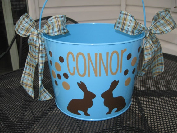 Blue Personalized Metal Bucket Name Saying Or Monogram