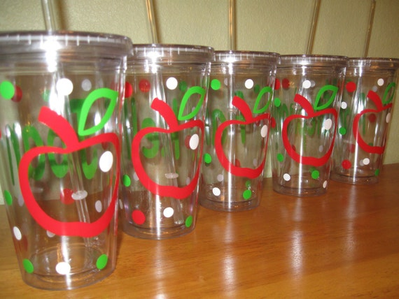 Teacher gift apple Quantity 6 Personalized w/name acrylic tumbler, Available in skinny, standard, sip top, sport bottle, mason, Vino2go