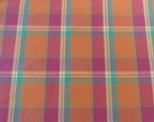 Summer Orange and Pink Plaid Pillow Cover