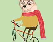 Fox on Bike. Children's Wall Art, Nursery Decor. Limited edition art print by Ashley Percival.