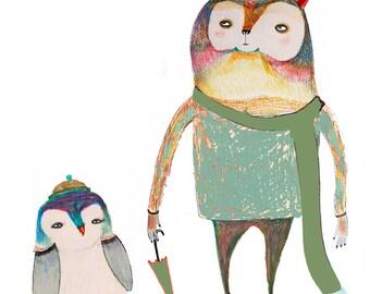 Cute wall art and nursery decor - ''Bear and Penguin''.