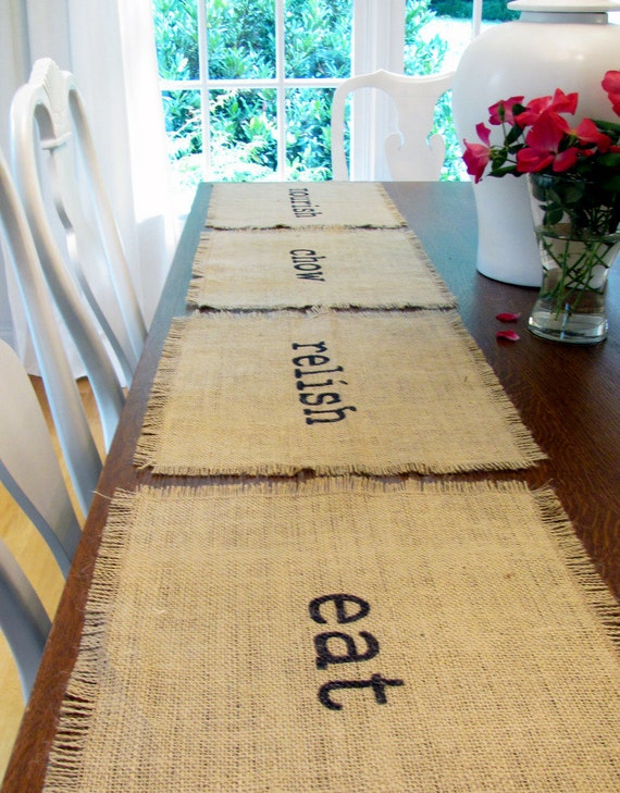 Burlap Place Mats Set of Four (eat, chow, relish, nourish)