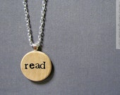 Read Hand Stamped Necklace in Typewriter Font - Reading Jewelry