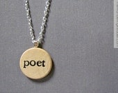 "Hand Stamped ""poet"" Poetry Necklace in Black Typewriter Font - Poetry Jewelry"