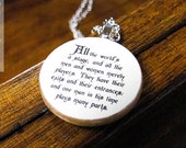 "Shakespeare ""All the world's a stage, and all the men and women merely players"" Literary Theater Quote Necklace - Literature Jewelry"