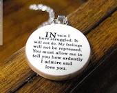 "Mr Darcy ""In Vain I Have Struggled"" Pride and Prejudice Literature Quote Necklace - Literary Jewelry"