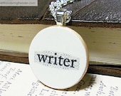 "Elegant ""Fleur Writer"" Writing Necklace with Filigree Accents - Writer Jewelry"