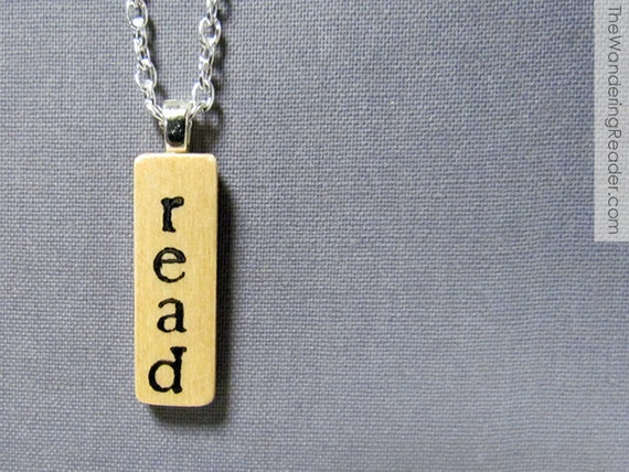 """Hand Stamped Modern """"Read"""" Book Lover Literary Necklace in Typewriter Font - Reading Jewelry"""