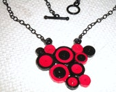 Red and Black Circles Paper Quilled Necklace