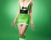 HALF PRICE Artifice Christmas Green and white striped knee socks with stay up  tops Artifice Clothing in size XS/S (photoshoot sample)