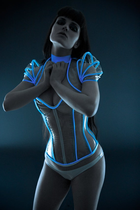 """Clear PVC with luminescent icy blue glowing trim overbust corset from Artifice 24"""" for a 27-29.5"""" waist (production sample, ready to ship)"""