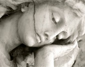 New Orleans Cemetery Angel Statue - Contemplation, 2010 - Fine Art Black and White Photography