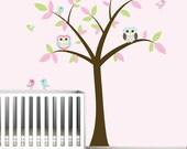 Tree Wall Vinyl with Owls Birds-Nursery Decal Stickers