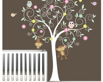 Children Wall Decals Nursery Tree Decal with Flowers Owls Birds