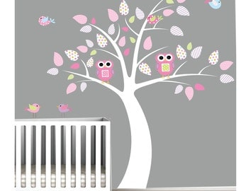 Nursery Wall Decals Tree Stickers with Owl Birds-Wall Decals