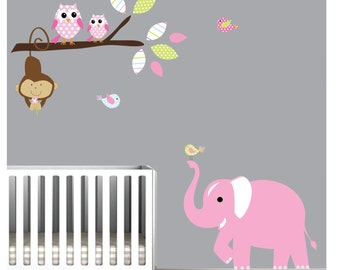 Wall Decal Wall Sticker Children Jungle with Owls-Nursery Wall Vinyl Decal