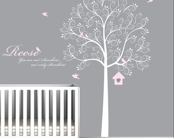 Tree Decal with Name Quote and Birds,Bird House-Nursery Wall Vinyl