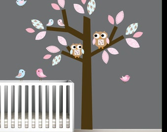 Vinyl Wall Decal Tree with Pattern Leaves,Owls,Birds-Nursery Tree Decal
