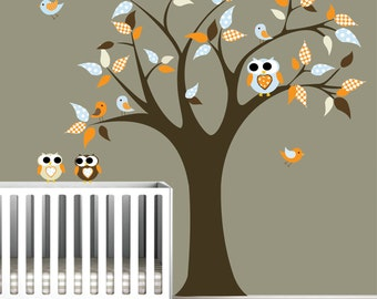Children Wall Decals Vinyl wall decal Tree with Owls-Vinyl Tree Wall Decal