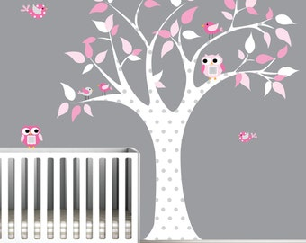 Children Wall Decals For Nursery-Tree with Owls Birds-e67