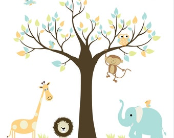 Children Wall Decals-Jungle with Elephant,Monkey Baby Boy Girl Wall Stickers