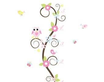 Nursery Wall Decal Stickers Owl and Birds Growth Chart Nursery baby decals-e118