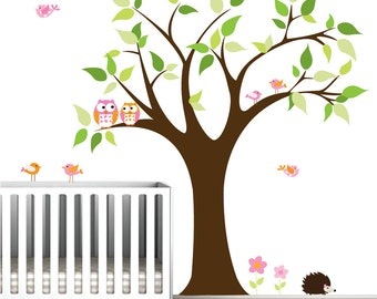 Tree Vinyl Wall Decal Children Nursery Wall Decals with Owls,Birds,Animal-Wall Art