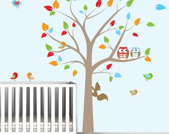 Children Wall Decals For Nursery-Tree Decal with Owls Birds