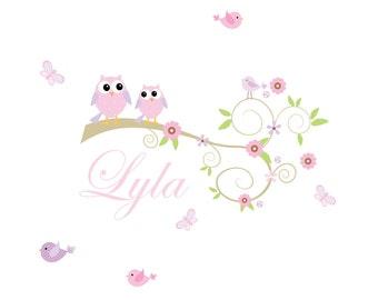 Nursery Wall Decals Vinyl Wall Decals Branch with ,Birds,Flowers,Owls-e97