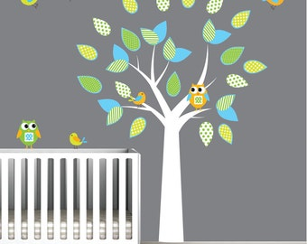 Vinyl Wall Decals Wall Decal withTree with owls birds nursery wall decals