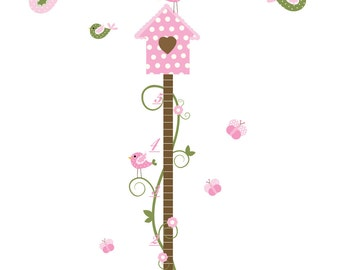 Growth Chart Vinyl Wall Decal with Birdhouse,Birds-Childrens Nursery Decals