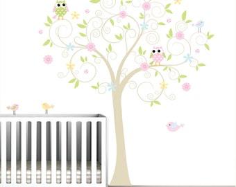 Wall decal wall sticker baby nursery tree with birds flowers wall art