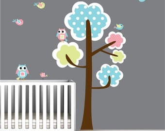 Wall Decals Vinyl Wall Decal Tree with Owls Birds-Nursery Wall Decals