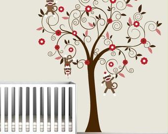 Baby Vinyl Wall Decal Nursery Tree Wall Decal Sticker Monkey Sock Monkey