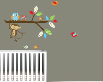 Vinyl Wall Decals Branch With Owls,Monkey,Birds-Nursery Jungle Wall Decals