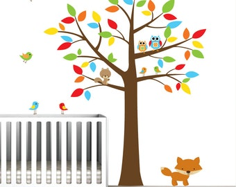 wall decals tree with animals,owls,birds-Nursery Wall Vinyl