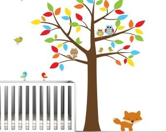 wall decals tree with animals,owls,birds-Nursery Wall Vinyl