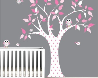 Decals wall decal tree with owl birds-nursery wall vinyl
