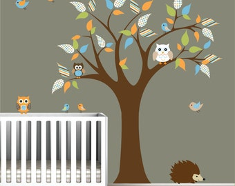 Nursery Tree Decal Vinyl Wall Stickers Animals Owl Birds Tree