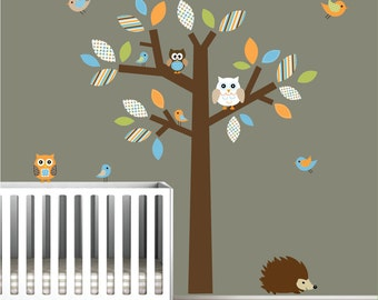 Vinyl decals tree wall decal with owl birds- children wall decals