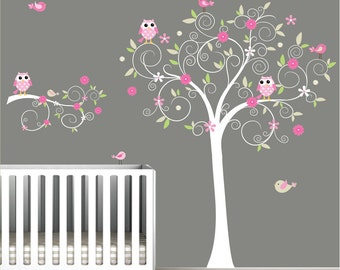 Nursery Wall Tree Decal Nursery Owl wall decal-e15
