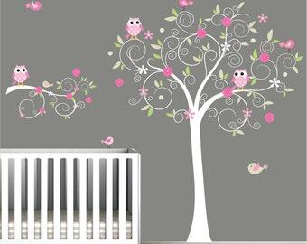 Nursery Wall Tree Decal Nursery Owl wall decal-e15