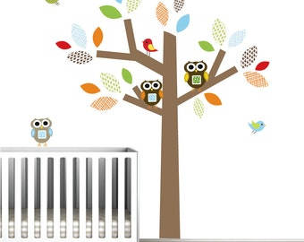Kids Vinyl Wall Decals with Owls Birds Pattern Leaves-Nursery Wall Art