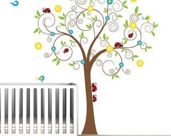 Children Vinyl Wall Decals Tree Decal with Ladybugs-Nursery Wall Vinyl