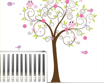 Vinyl Decals Tree with Flowers Birds-Nursery Wall Decals Stickers Vinyl