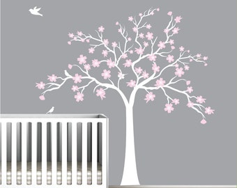 Children Wall Decals Vinyl wall decal tree with flowers-Vinyl Tree Wall Decal