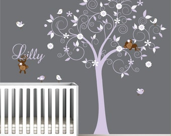 Children Wall Decals Vinyl wall decal Tree with Monkeys-Vinyl Tree Wall Decal-e113